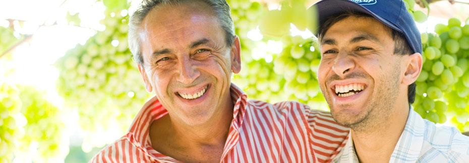 hombres con uvas