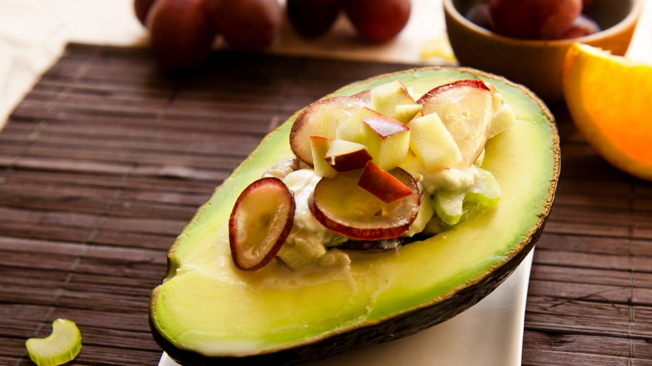 Avocado with grapes celery salad