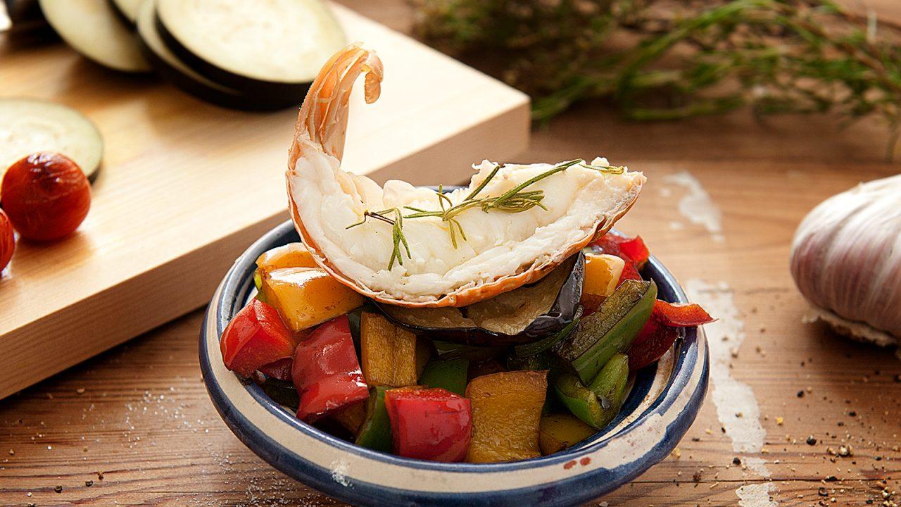 Hummerkrabbe mit Zucchini