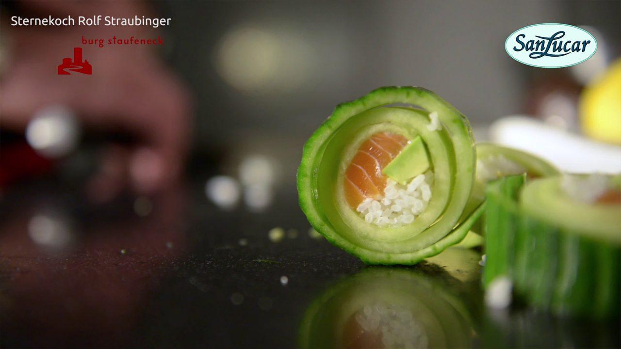 Cucumber sushi with wasabi