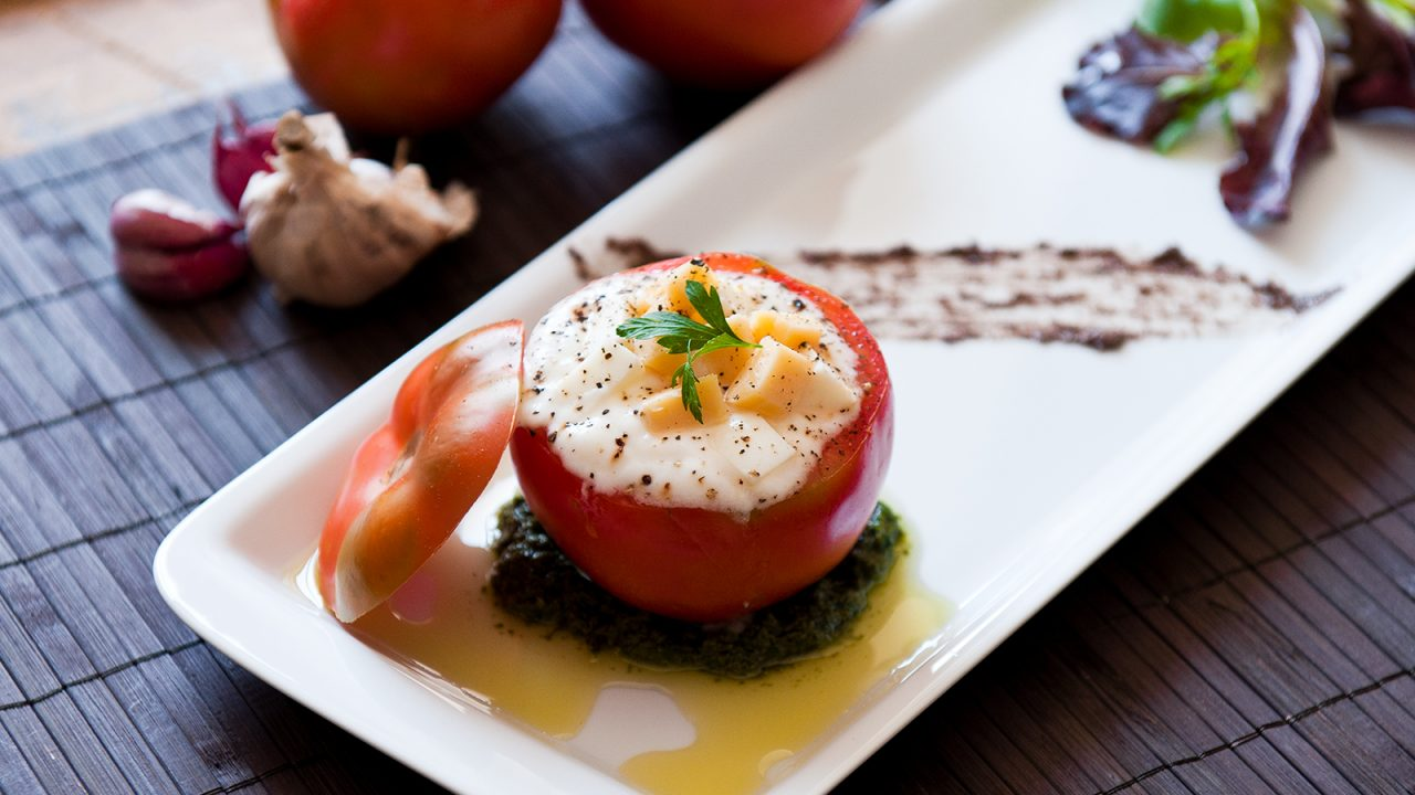 Stuffed summer tomatoes