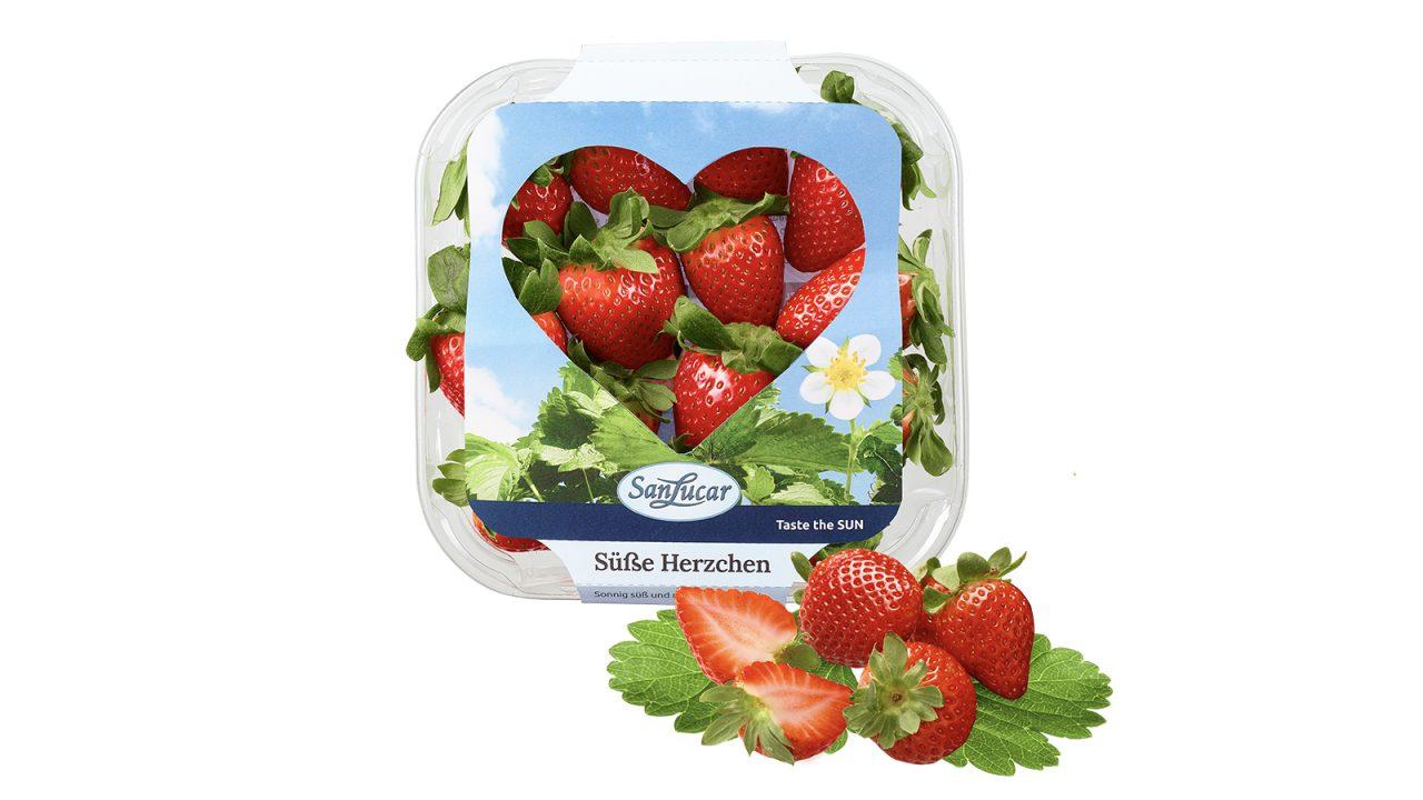 A heart full of strawberreis for lovers