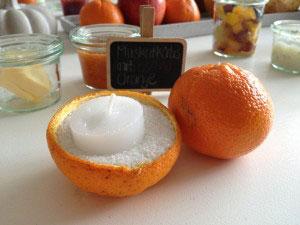 Orangen-Teelichter