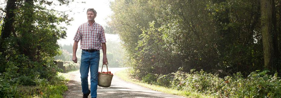Meisteranbauer mit Tomaten im Wald