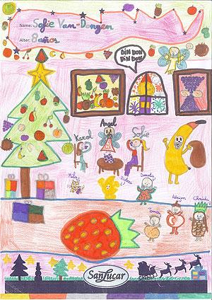 Kinderzeichnungen von Früchten zur Weihnachtszeit