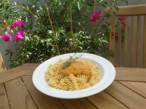 Spirelli mit Tomaten Mandel Pesto