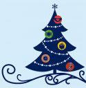 Weihnachtskarte - blaue Comictanne mit fruchtigen Kugeln
